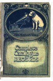 His Master's Voice General Catalogue 1921 - British Library - Sounds