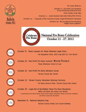 October 2012 - Tarrant County Bar Association