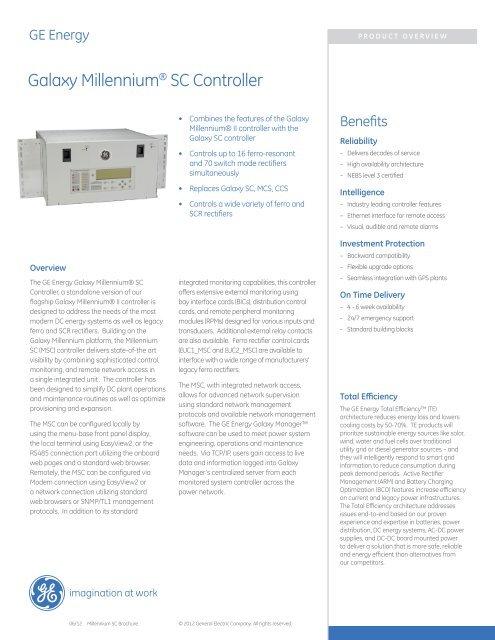 Galaxy Millennium® SC Controller - Lineage Power