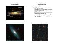 The Milky Way: Spiral galaxies:
