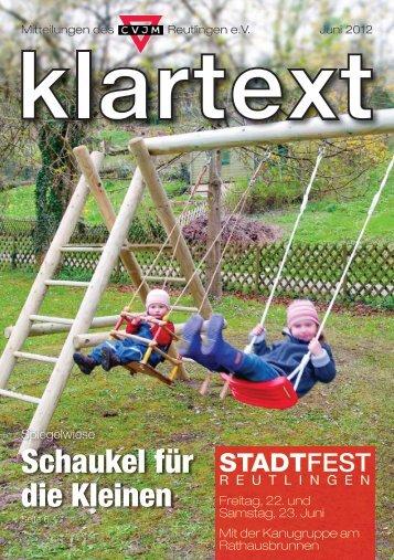 Klartext Juni 2012 als PDF zum Herunterladen - CVJM Reutlingen eV