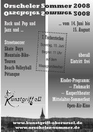 2008 Orscheler Sommer - Programmheft - Kunstgriff eV Oberursel