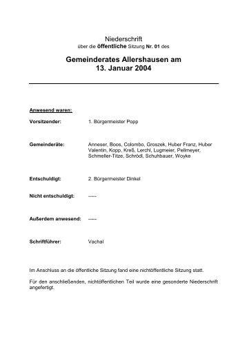 Gemeinderates Allershausen am 13. Januar 2004