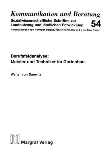 Berufsfeldanalyse: Meister und Techniker im Gartenbau