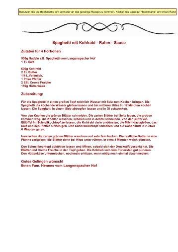 Spaghetti mit Kohlrabi - Rahm - Sauce - Direktvermarkter-Traunstein
