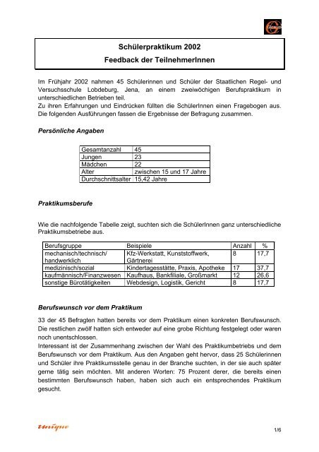Praktikumsbericht kfz werkstatt