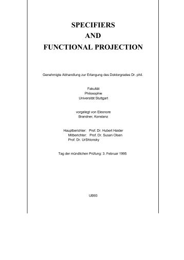 SPECIFIERS AND FUNCTIONAL PROJECTION