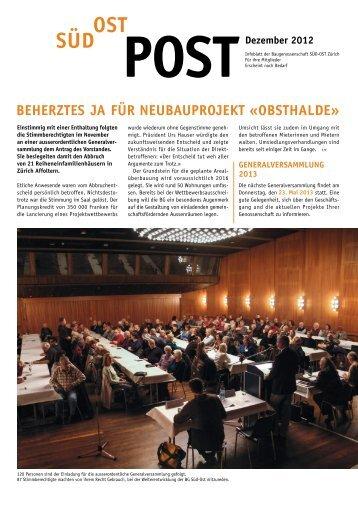 SuedOst Dezember 2012 - Baugenossenschaft Süd-Ost