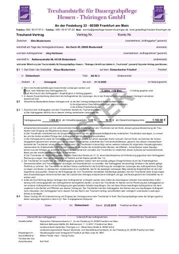 treuhand vertrag vertrag nr konto nr an der festeburg 33 60389 - Treuhandvertrag Muster