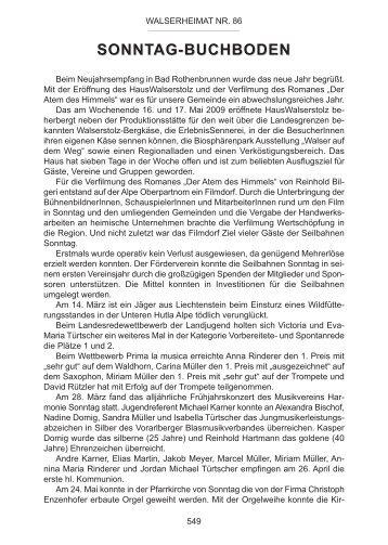 Chronik der Gemeinde Sonntag für das Jahr 2009 - Vorarlberger ...