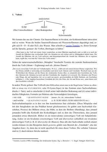 Info zur Verbvalenz - PD Dr. Wolfgang Schindler