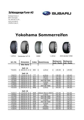Yokohama Sommerreifen - Schlossgarage Furrer AG