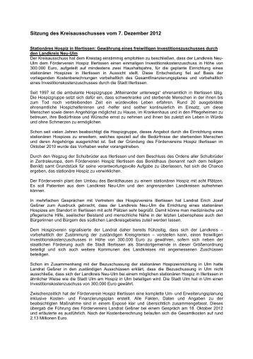 Sitzungsbericht 07.12.2012 - Landkreis Neu-Ulm