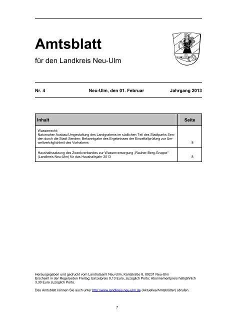 Amtsblatt Nr. 4 vom 01. Februar 2013 (42.06 - Landkreis Neu-Ulm