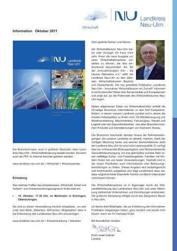 Wirtschafts-Informationen Oktober 2011 - Landkreis Neu-Ulm