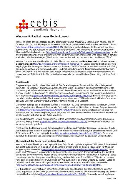 Windows 8: Radikal neues Bedienkonzept - Landkreis Neu-Ulm