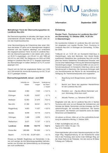 Tourismus-Informationen September 2009 - Landkreis Neu-Ulm