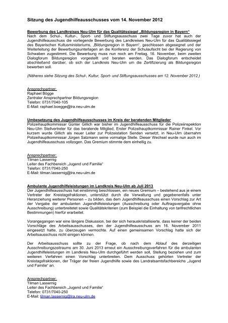 Sitzungsbericht vom 14.11.2012 - Landkreis Neu-Ulm