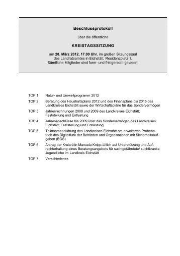 Beschlussprotokoll der 01. Kreistagssitzung - Landkreis Eichstätt