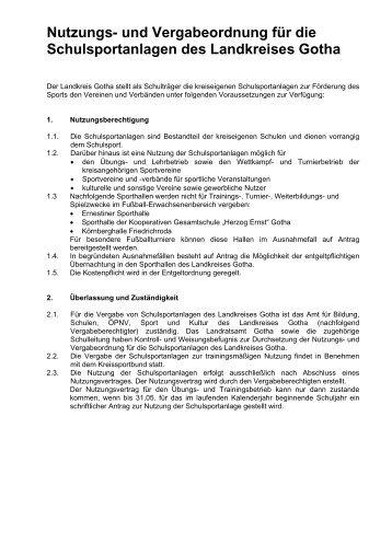 Nutzungs- und Vergabeordnung für die ... - Landkreis Gotha