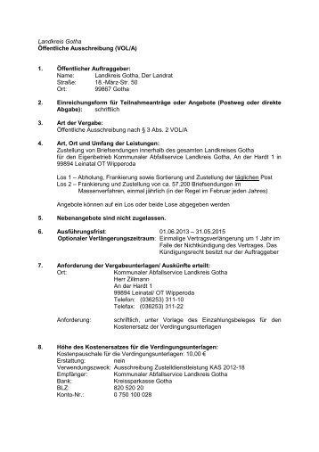 öffentliche Ausschreibung Nach Voba Landkreis Gotha