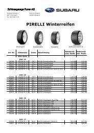 Pirelli Winterpneu 2009 - Schlossgarage Furrer AG