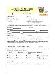 Anmeldung für die Vergabe der Ehrenamtskarte - Landkreis Kassel