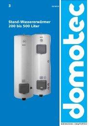 3 Stand-Wassererwärmer 200 bis 500 Liter - Domotec AG