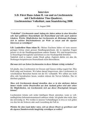 Interview S.D. Fürst Hans-Adam II. von und - Das Fürstenhaus von ...