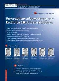 Unternehmensbewertung und Recht für M&A Transaktionen - Euroforum
