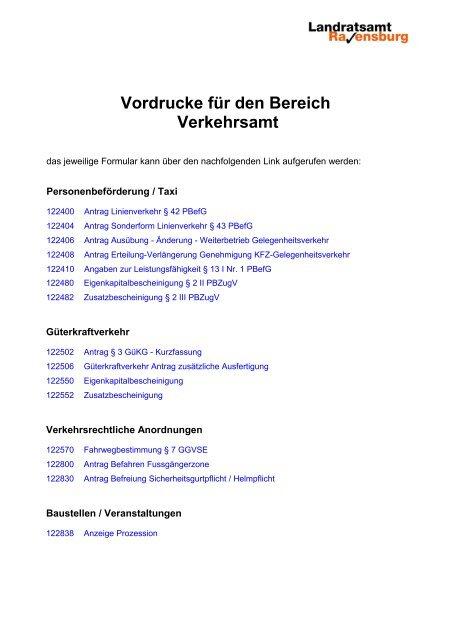 Vordrucke Fur Den Bereich Verkehrsamt Im Landkreis Ravensburg