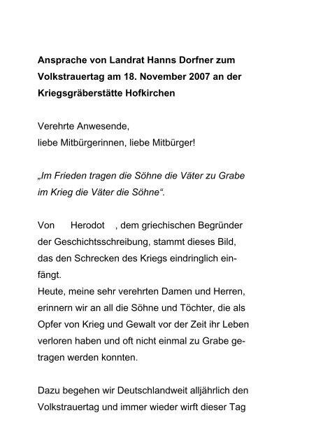 Ansprache von Landrat Hanns Dorfner - Landkreis Passau
