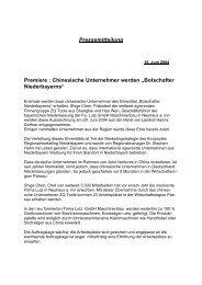 Chinesische Unternehmer werden - Landkreis Passau