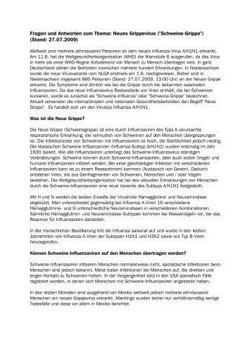 """Fragen und Antworten zum Thema: Neues Grippevirus (""""Schweine ..."""