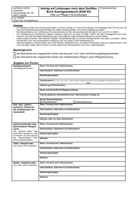 Seite 2 Von 08 Antrag Auf Hilfe Zur Pflege 1