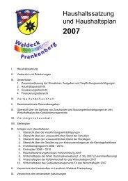 Haushaltssatzung und Haushaltsplan 2007 - im Landkreis Waldeck ...