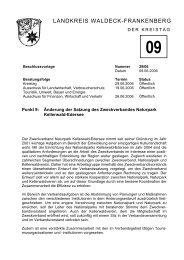 Änderung der Satzung des Zweckverbandes Naturpark Kellerwald ...