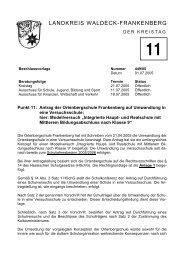 Antrag der Ortenbergschule Frankenberg auf Umwandlung in eine
