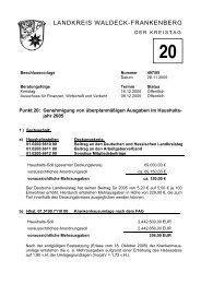 Genehmigung von überplanmäßigen Ausgaben im Haushaltsjahr ...