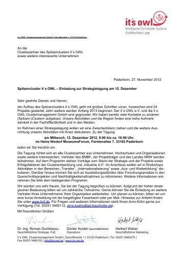 Paderborn, 27. November 2012 Spitzencluster it´s OWL – Einladung ...