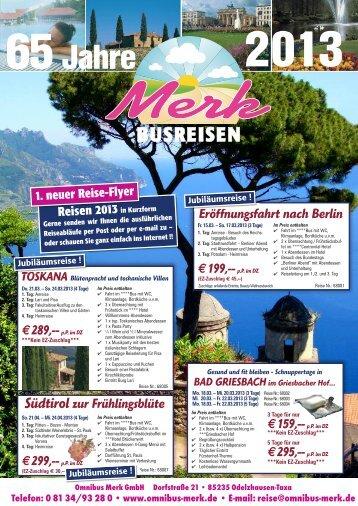 Reiseflyer 2013 - Omnibus Merk