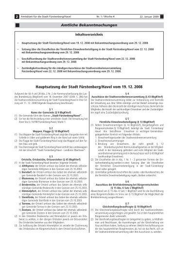 Hauptsatzung der Stadt Fürstenberg/Havel vom 19. 12. 2008 - in der ...