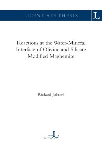 Reactions at the water-mineral interface of olivine ... - Pure 4 - Login