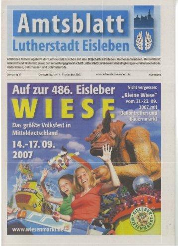 Amtliches Mitteilungsblatt der Lutherstadt Eisleben mit den ...