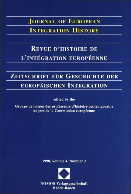 Journal Of European Integration History Vol 4 1998 The European