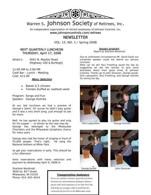 Warren S  Johnson Society of Retirees, Inc  - Johnson
