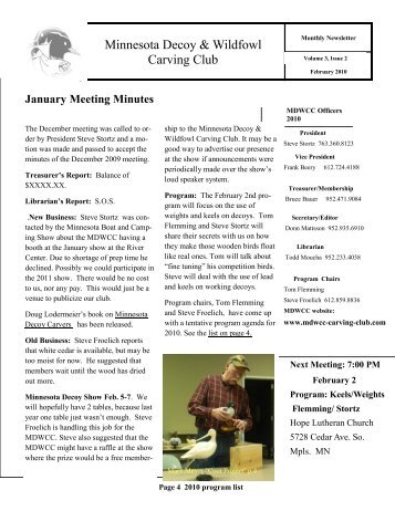 February News Letter - Minnesota Decoy and Wildfowl Carving Club