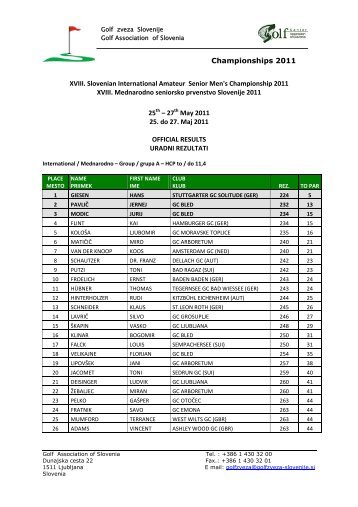Championships 2011 XVIII. Slovenian International ... - Rezultati