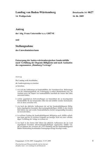 Entsorgung der baden-württembergischen Sonderabfälle nach ...