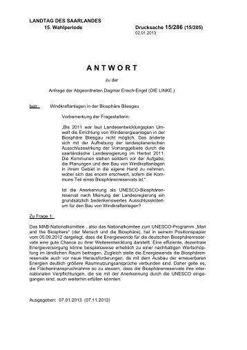 antwort - Der Landtag des Saarlandes